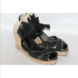 Coach black Sig 12CM peep toe ankle wrap wedge